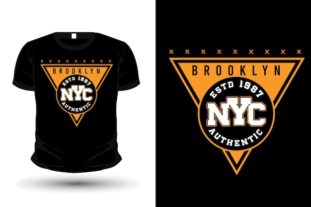 Diseño de camiseta de maqueta de tipografía de la ciudad de nueva york de brooklyn