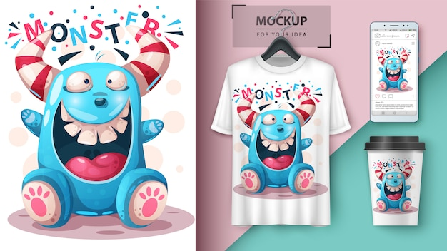 Diseño de camiseta monstruo loco