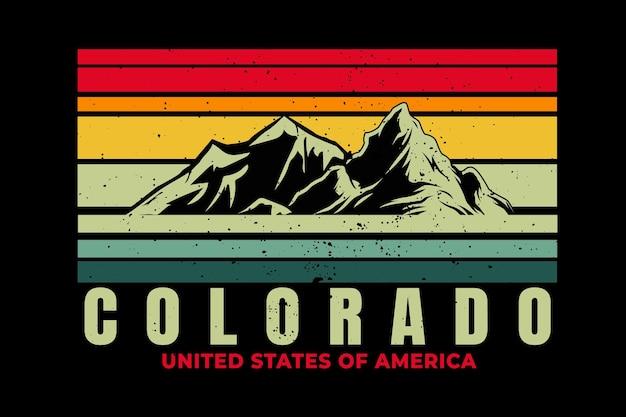 Diseño de camiseta con montaña colorado hermosa en estilo retro.
