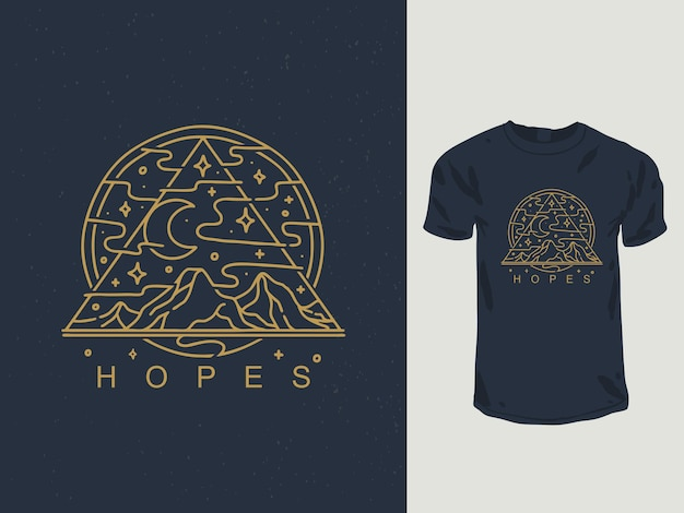 Diseño de camiseta de montaña de esperanzas monoline
