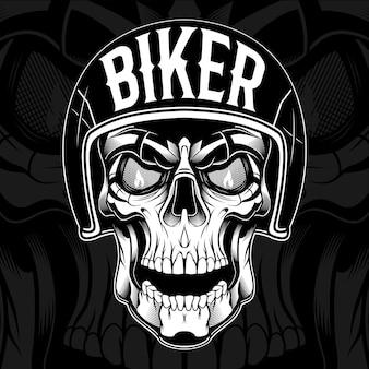 Diseño de camiseta de motociclista calavera