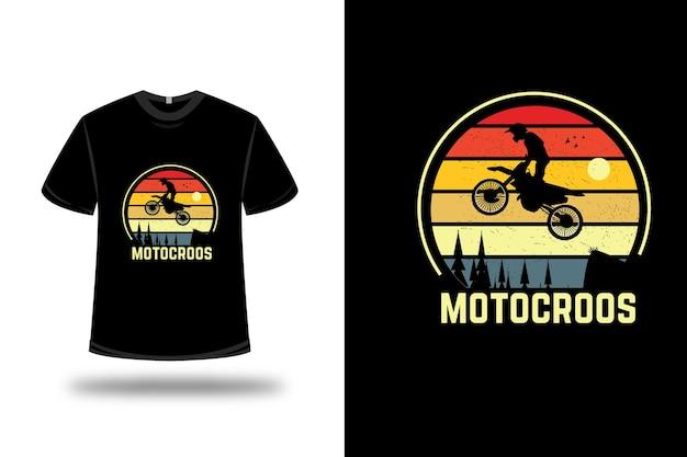 Diseño de camiseta. motocroos en amarillo y naranja