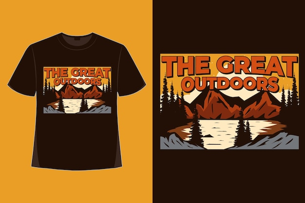 Diseño de camiseta de naturaleza gran aire libre aventura de montaña estilo dibujado a mano ilustración vintage