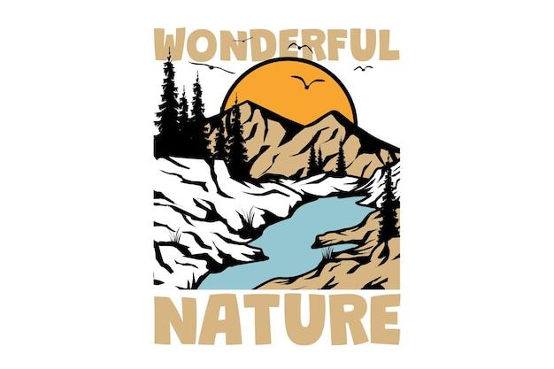 Diseño de camiseta con naturaleza maravillosa pino montaña estilo vintage dibujado a mano