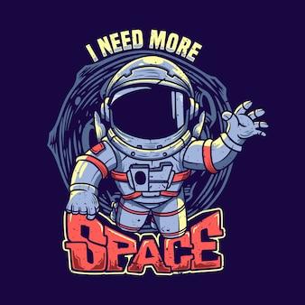 Diseño de camiseta necesito más espacio con ilustración vintage de astronauta