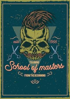 Diseño de camiseta o cartel con ilustración de calavera de peluquero.