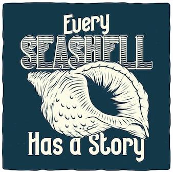 Diseño de camiseta o cartel con ilustración de concha