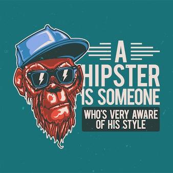 Diseño de camiseta o cartel con ilustración de mono hipster.