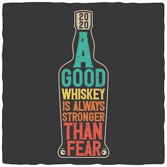 Diseño de camiseta o cartel con letras y contorno de botella.