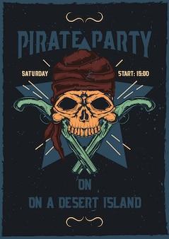 Diseño de camiseta o póster con ilustración de calavera pirata con pistolas.