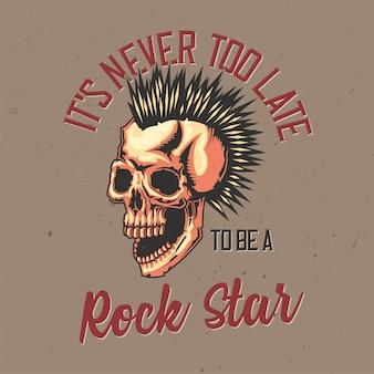 Diseño de camiseta o póster con ilustración de calavera punk.