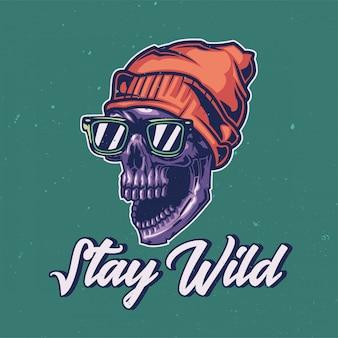 Diseño de camiseta o póster con ilustración de un cráneo salvaje.