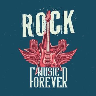 Diseño de camiseta o póster con ilustración de guitarra, dos micrófonos y alas.