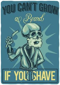 Diseño de camiseta o póster con ilustración de un hombre afeitado.