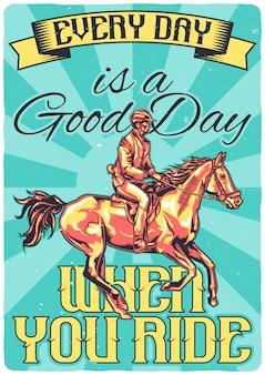 Diseño de camiseta o póster con ilustración de jokey en un caballo.