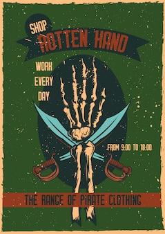 Diseño de camiseta o póster con ilustración de una mano con espadas.