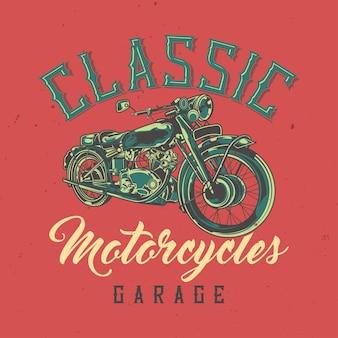 Diseño de camiseta o póster con ilustración de motocicleta clásica.
