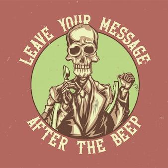 Diseño de camiseta o póster con ilustración del operador del centro de llamadas muerto