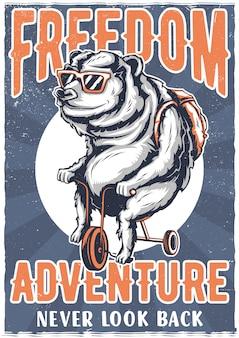 Diseño de camiseta o póster con ilustración de oso en bicicleta