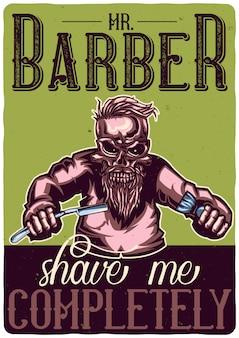 Diseño de camiseta o póster con ilustración de un peluquero esqueleto.