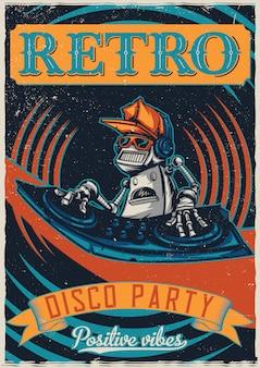 Diseño de camiseta o póster con ilustración de robot disc jockey