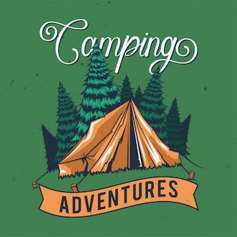 Diseño de camiseta o póster con ilustración de una tienda de campaña.