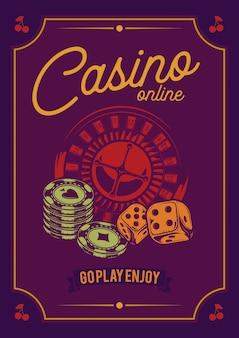 Diseño de camiseta o póster con ilustraciones de elementos de casino: cartas, fichas y ruleta.