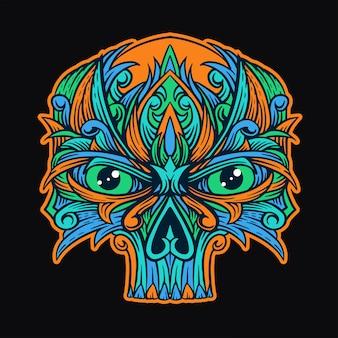 Diseño de la camiseta del ornamento del cráneo