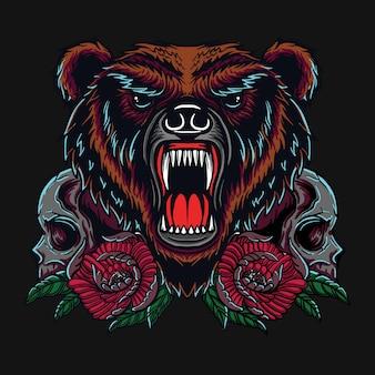 Diseño de camiseta de oso y calavera.