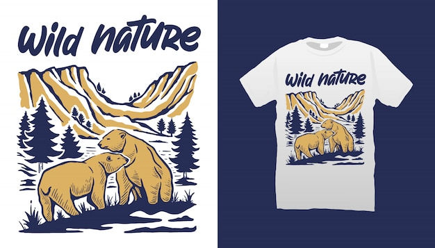 Diseño de camiseta de osos de naturaleza salvaje.