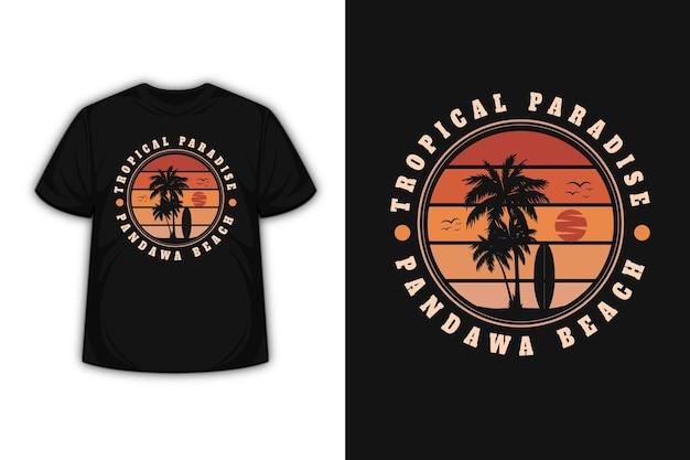 Diseño de camiseta con el paraíso tropical de la playa de bali en degradado naranja.