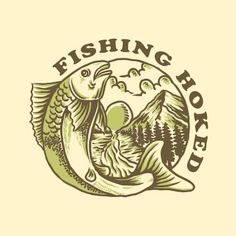 Diseño de camiseta de pesca enganchada.