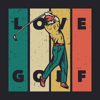 Diseño de camiseta prefiero jugar al golf con ilustración vintage de palo de golf
