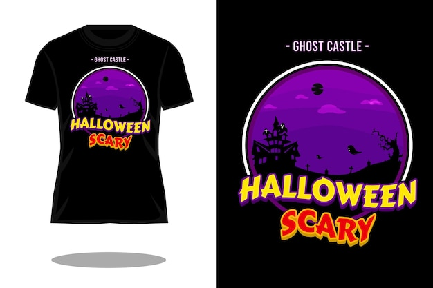 Diseño de camiseta retro castillo fantasma