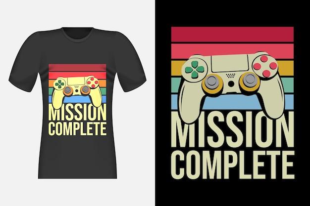 Diseño de camiseta retro vintage completo de gamers mission