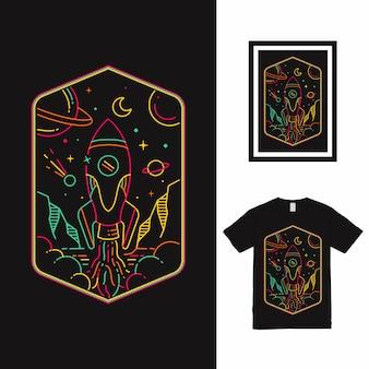 Diseño de camiseta rocket space line art