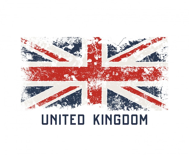 Diseño de camiseta y ropa de reino unido con efecto grunge.