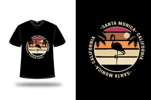 Diseño de camiseta. santa monica california en naranja y rojo