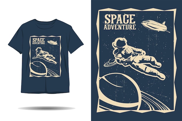Diseño de camiseta de silueta de astronauta de aventura espacial