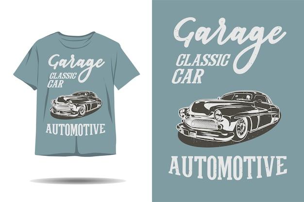 Diseño de camiseta de silueta automotriz de coche clásico de garaje