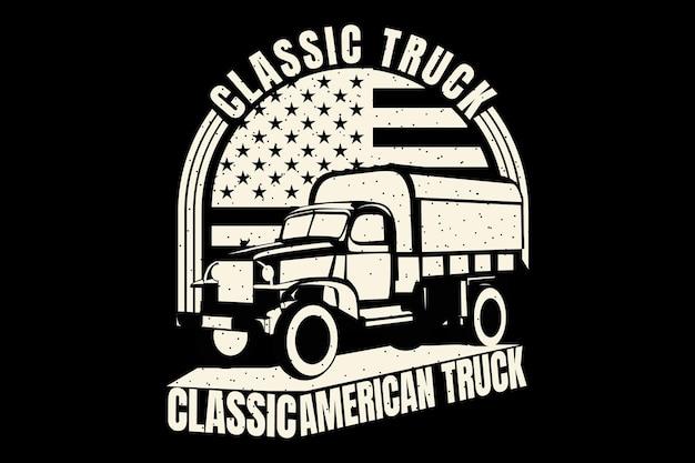 Diseño de camiseta con silueta camión clásico bandera americana vintage
