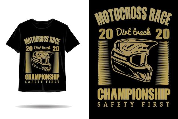 Diseño de camiseta de silueta de casco de carrera de motocross