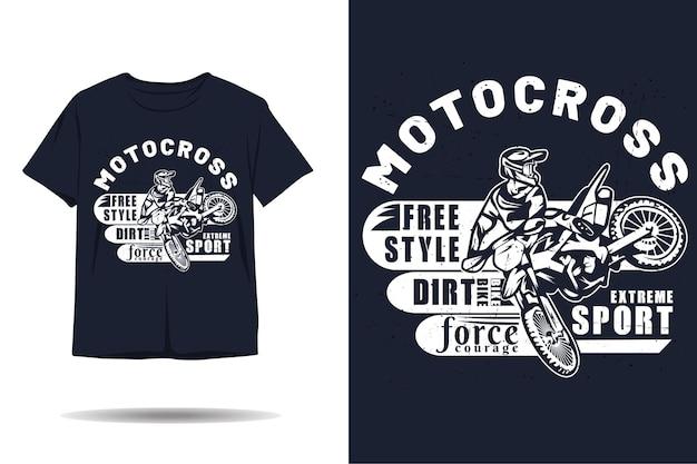 Diseño de camiseta de silueta de estilo libre de deporte extremo de motocross