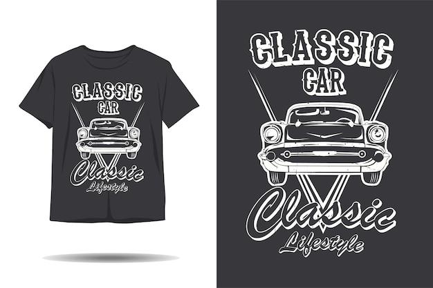 Diseño de camiseta de silueta de estilo de vida clásico de coche clásico