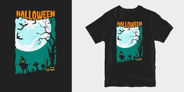 Diseño de camiseta de silueta de ilustración oscura de halloween