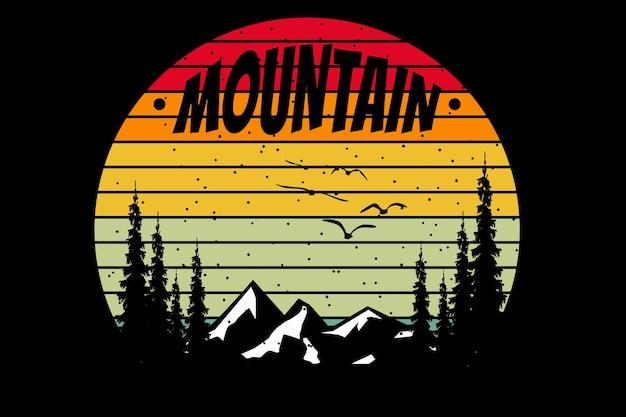 Diseño de camiseta con silueta de pino de montaña en estilo retro.