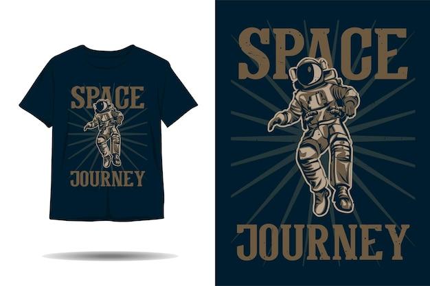 Diseño de camiseta de silueta de viaje espacial de astronauta