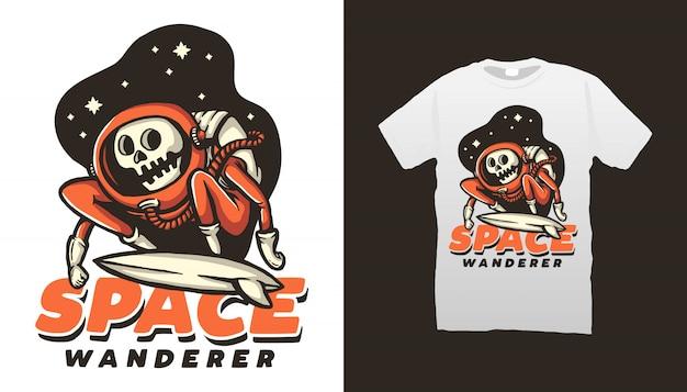 Diseño de camiseta de space wanderer