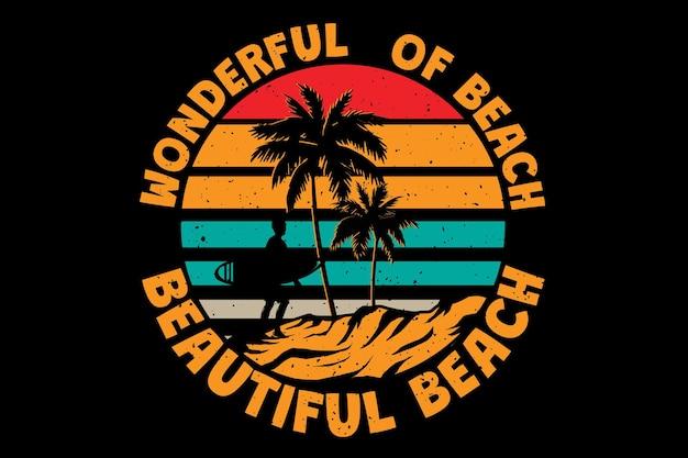 Diseño de camiseta con surf maravillosa playa hermosa en estilo retro vintage
