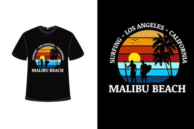 Diseño de camiseta con surf en la playa de malibu de california en rojo anaranjado y azul
